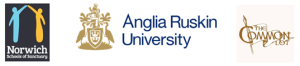 Norwich Schools of Sancturary, Anglia Ruskin University, and The Common Lot logos